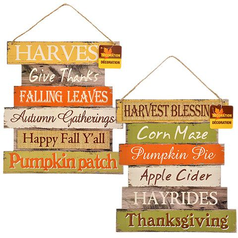 Wooden Harvest Welcome Signs