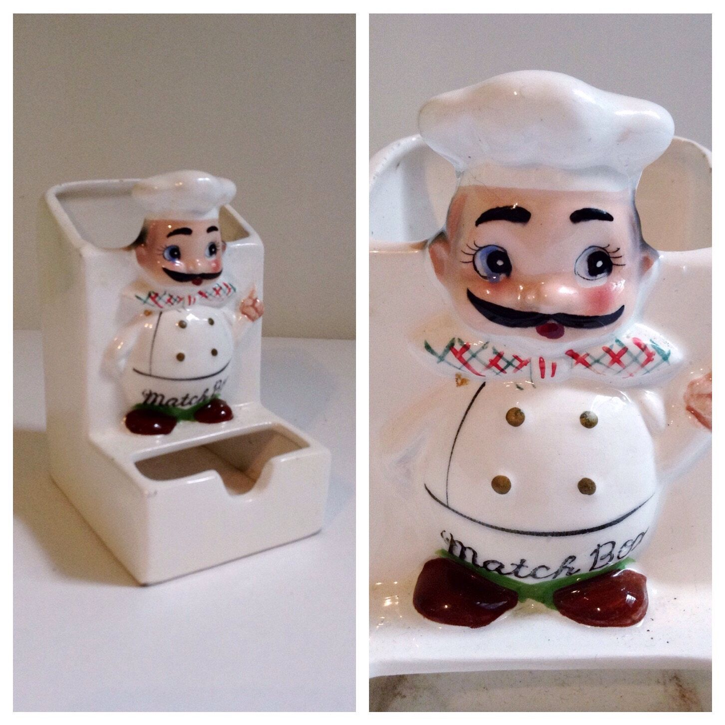 Attractive Match Box Holder Kitchen Decor Little Chef Ceramic Box Hanging Hanger  Italian Moustache By PartyPoodlesVintage On