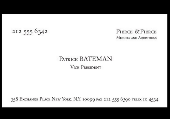 An American Psycho Business Cards American Psycho American Business Cards