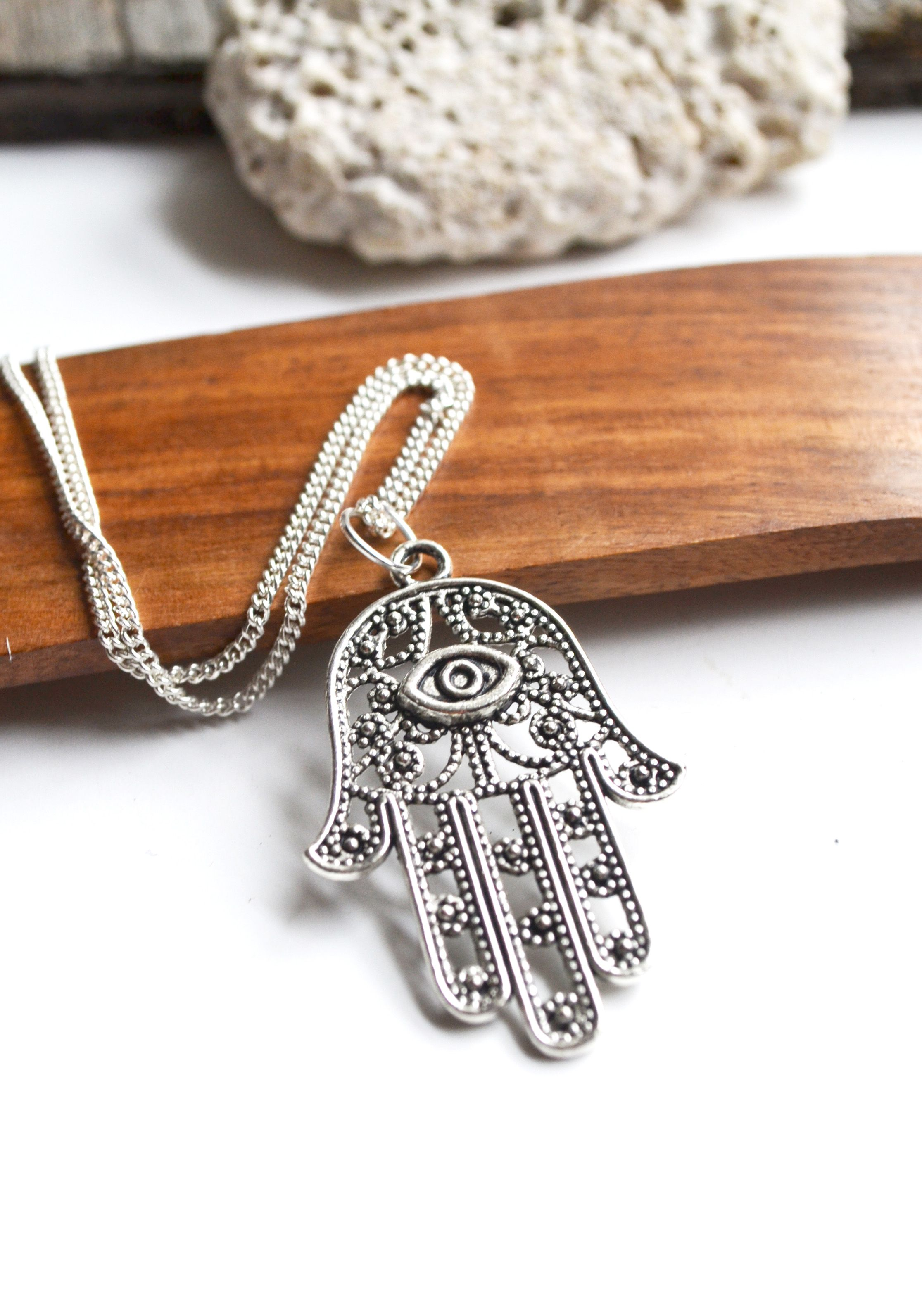 Hamsa hand necklace evil eye protection necklace hamsa jewelry this protection necklace is silver plated and please view all photos for details hamsa or hand of fatima meaning the eye in aloadofball Gallery