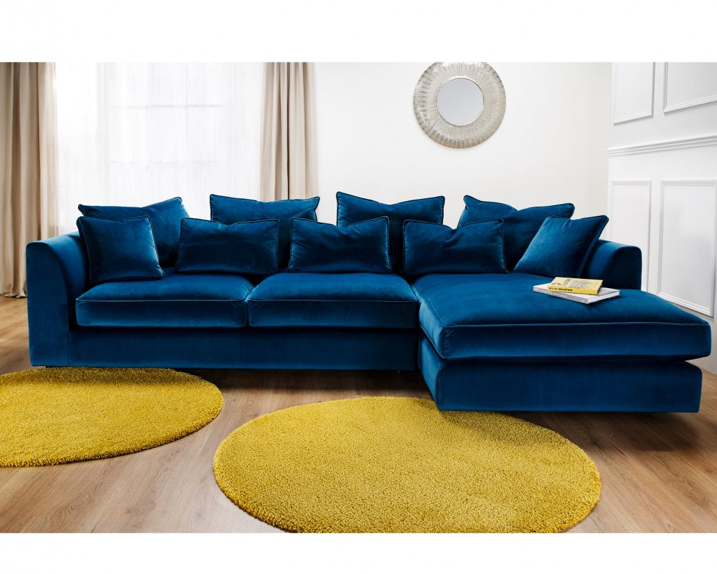 Boss Velvet Fabric Deep Corner Sofa Comfy In 2020 Corner Sofa Living Room Velvet Corner Sofa Corner Sofa