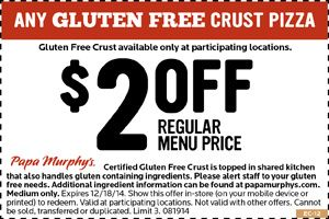 image about Gluten Free Coupons Printable known as $2 off Gluten-Free of charge Pizza at Papa Murphys Places to eat