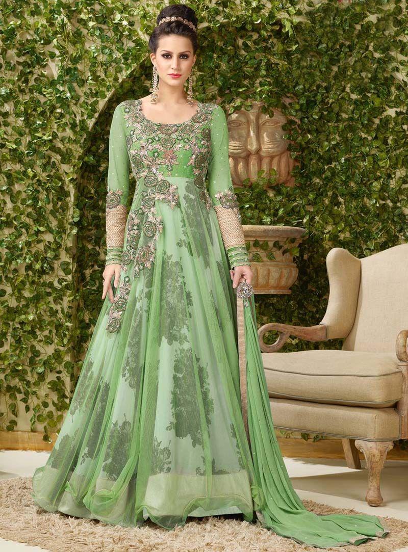 Light Green Net Designer Gown 80631 | Designer Party wear Gown ...