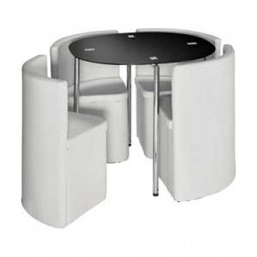 Hygena Round Space Saving Dining Table and Chair Set | home ...