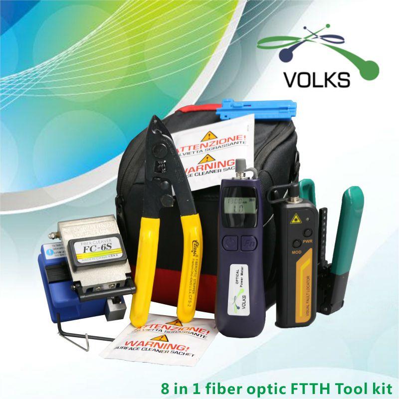 8 In 1 In Fibra Ottica FTTH Tool Kit FC-6S Mannaia della Fibra Ottica Power Meter 12 km Visual Fault Locator