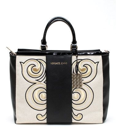 White & Black Swirl Leather Tote by Versace Jeans Collection #zulily #zulilyfinds