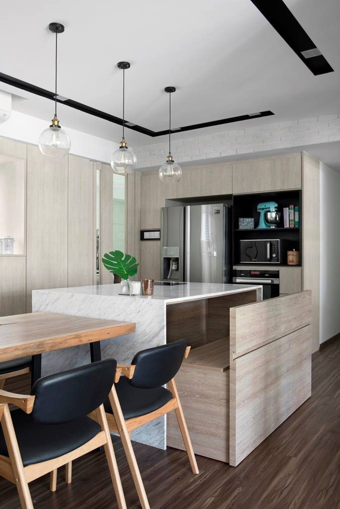 11 Seriously Stylish Singapore Homes With A White Black And Wood Colour Scheme Kitchen Island Bench Farmhouse Style Kitchen Home