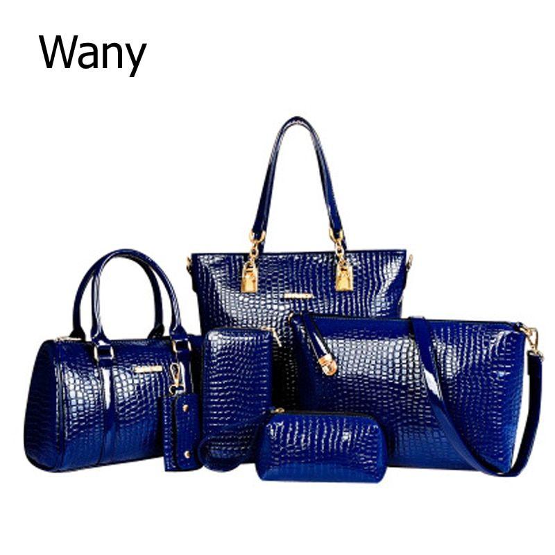 6 PCS Set Women Bag Crocodile Pattern Composite Bag Stone Women Messenger  Bags Shoulder Handbag Purse Wallet PU Leather Handbags Review 477a8cd609a7a