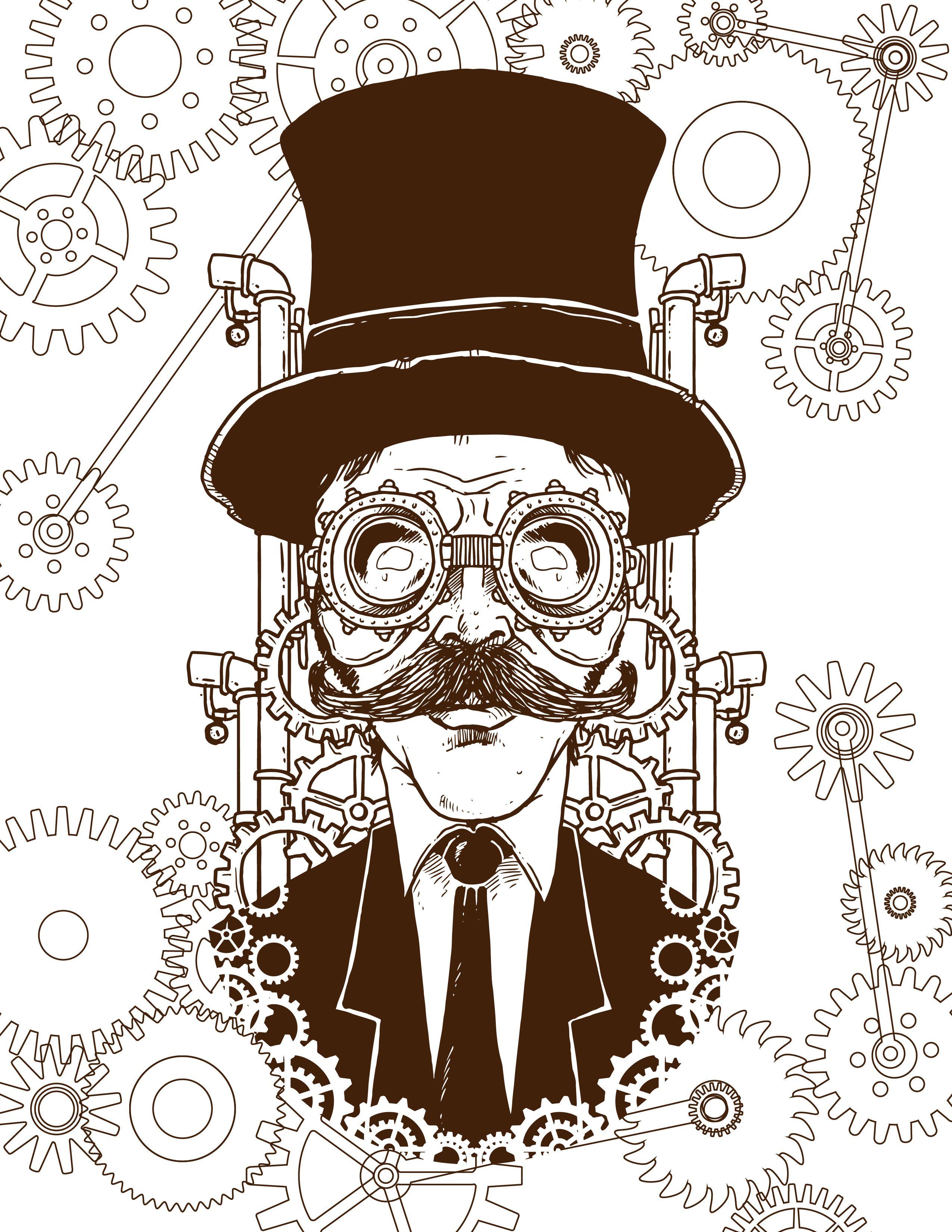 imprimer coloriage homme steampunk steam punk
