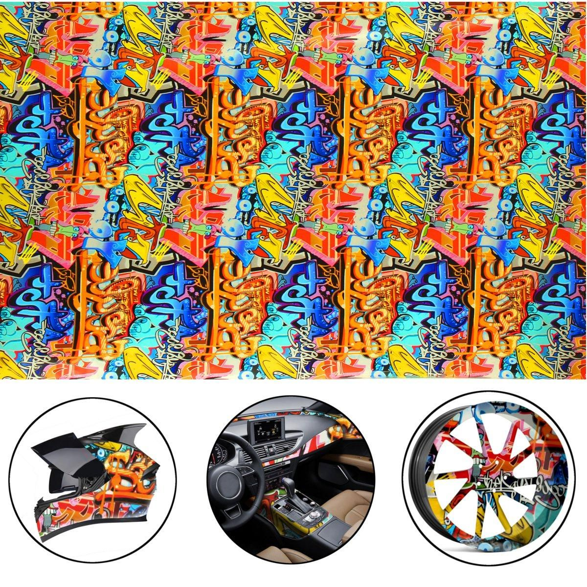 Photo of 200CM Graffiti Doodle Hydrographic Water Transfer Hydro Dipping DIP Print Film D…