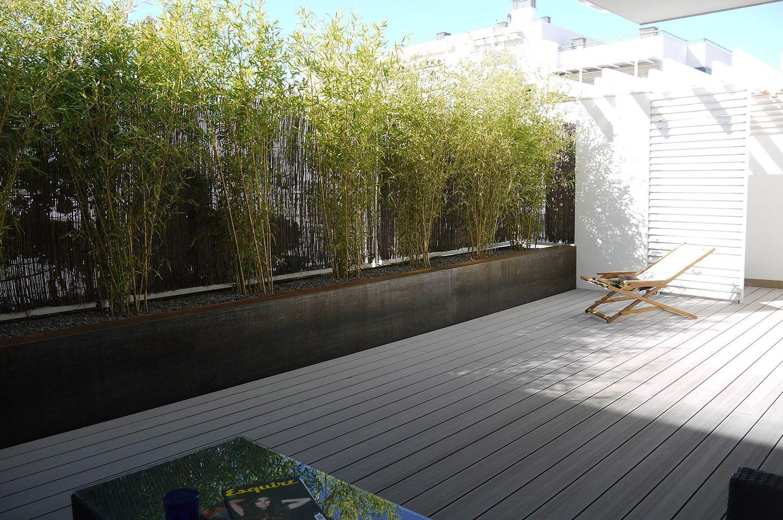 bajo con jard n las rozas jardinera acero corten bamb es