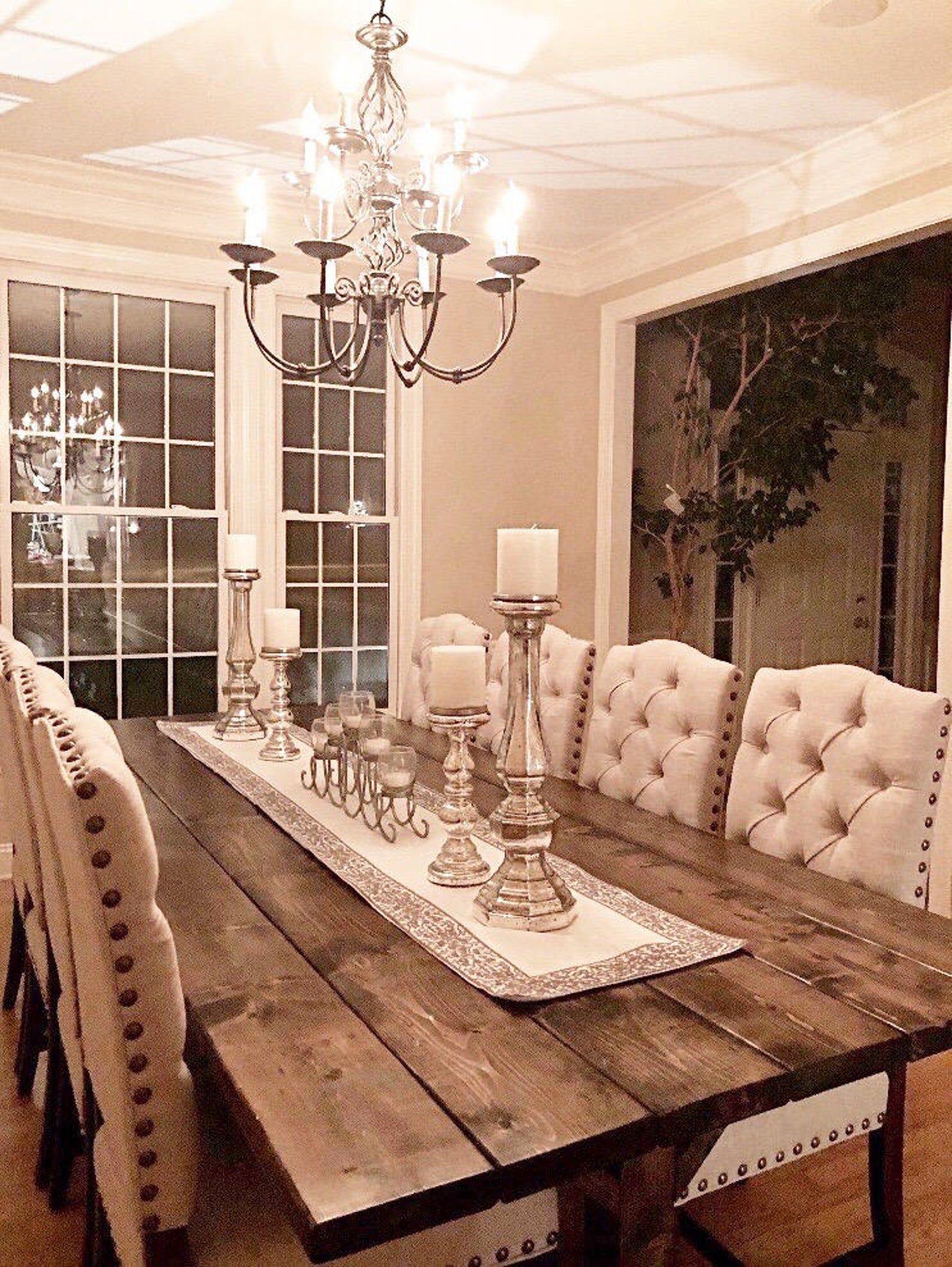 Large Farmhouse Table Long Farm Table Dining Room Table Etsy In 2021 Farmhouse Dining Rooms Decor Dining Room Table Decor Farmhouse Dining Room