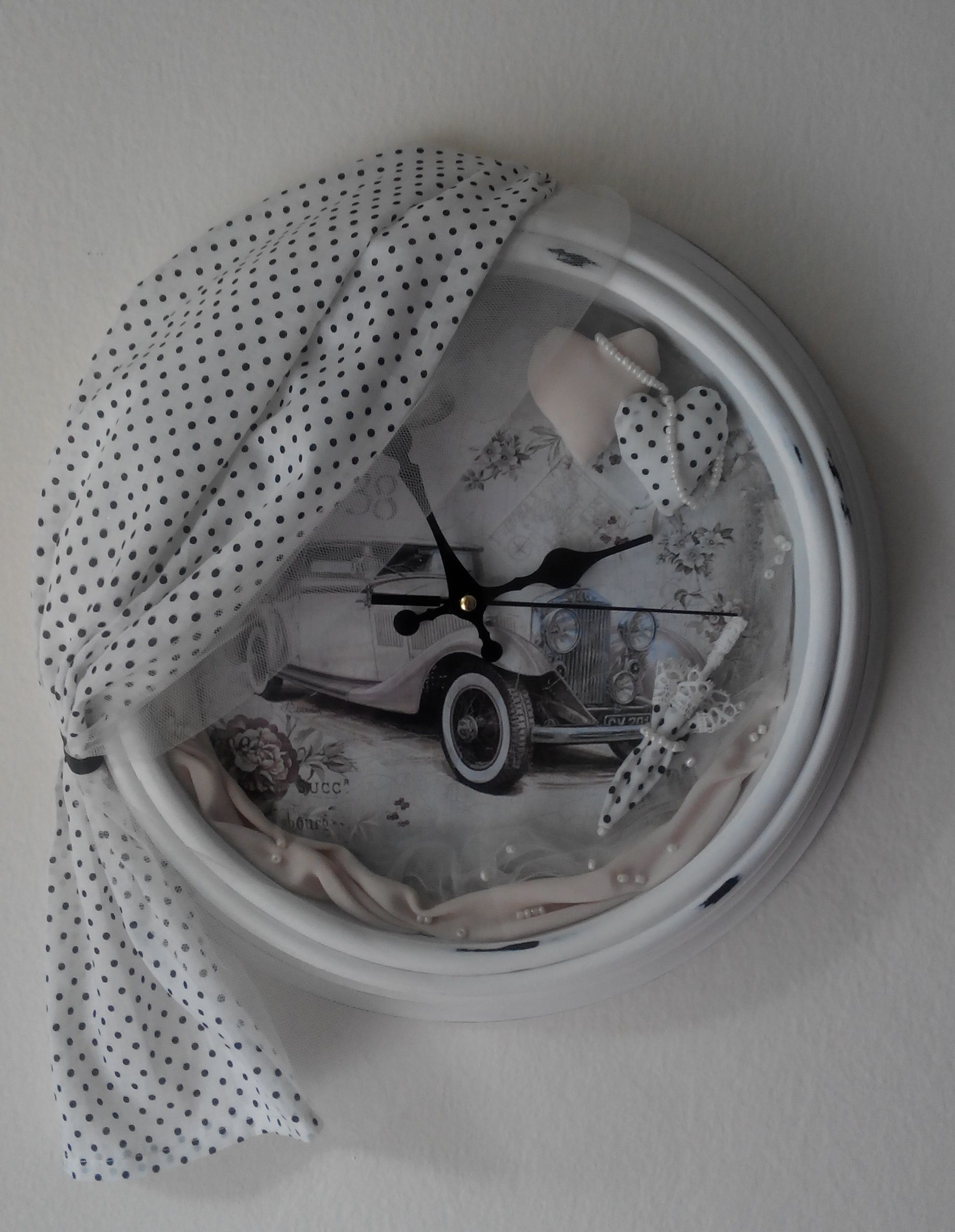 """Decorative clock """"a'la french vintage"""" Restore order in my work's cupboard my eye caughts the old clock. The mechanism was broken and the clock was sent into exile in a dark corner. Until ... until it found a new life in my hands.  Retro automobile, textiles and lovely trifles give birth to a romantic style of French vintage."""