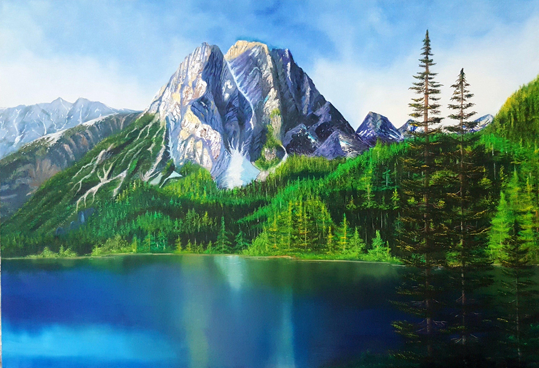 Mountain View Landscape Blue Green Big Wall Art Original Painting Professional Sensation Peaceful