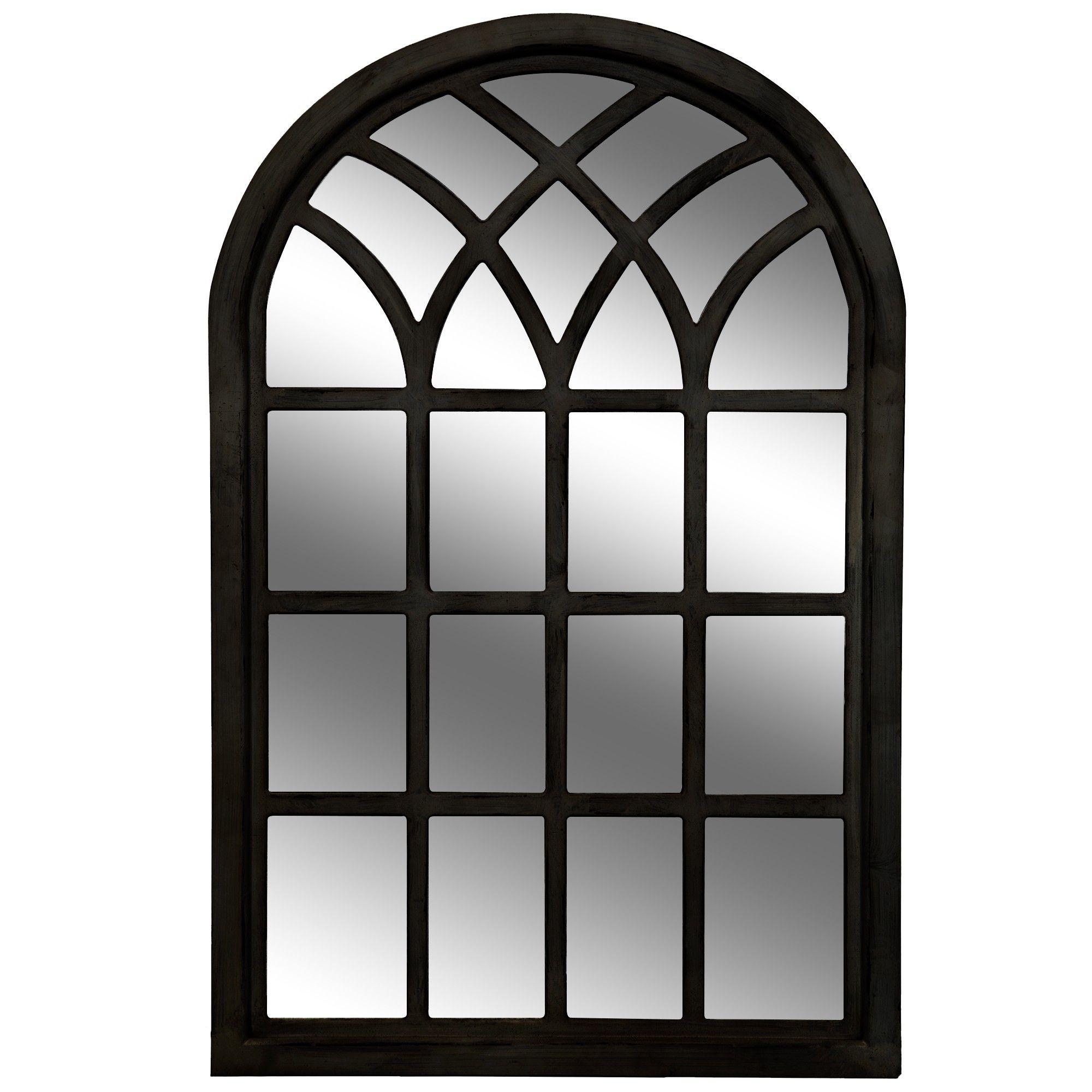 46x30 farmhouse cathedral windowpane wall mirror black