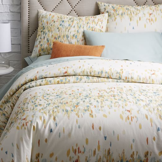 organic paint palette duvet cover ivory west elm. Black Bedroom Furniture Sets. Home Design Ideas