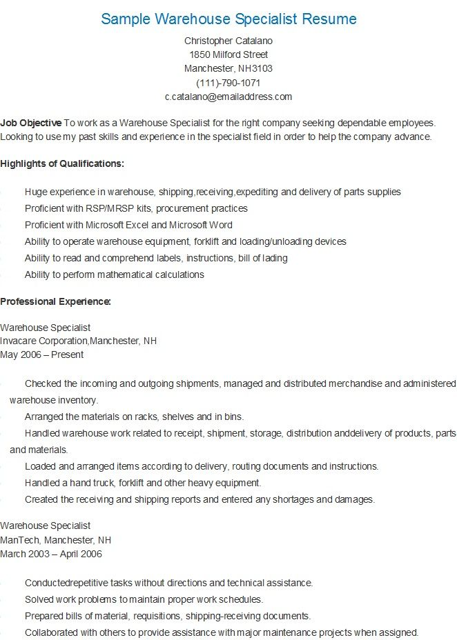 Sample Warehouse Specialist Resume resame Pinterest Job info