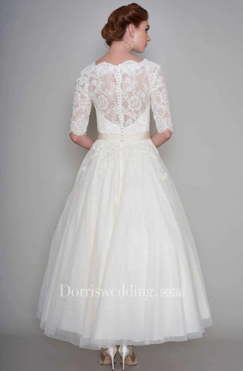 Simple Lace And Organza Half Sleeve Ankle Length Bridal Gown With Applique Dorris Wedding In 2021 Ankle Length Wedding Dress Wedding Dresses Tea Wedding Dresses [ 1262 x 828 Pixel ]