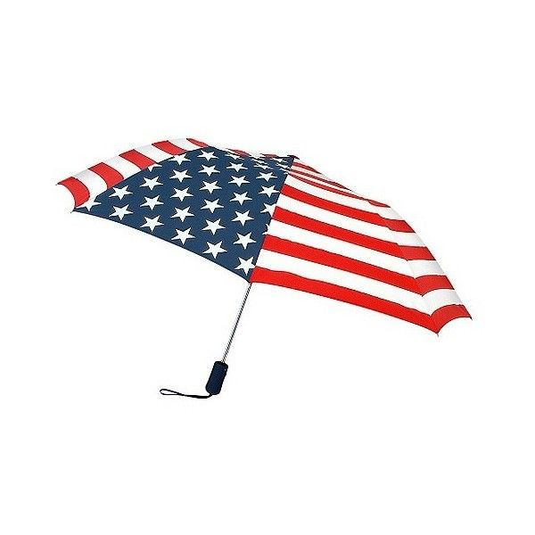 Auto Open Compact Umbrella - American Flag, Multi-Colored (€21) ❤ liked on Polyvore featuring accessories, umbrellas, multicolor umbrella and colorful umbrellas