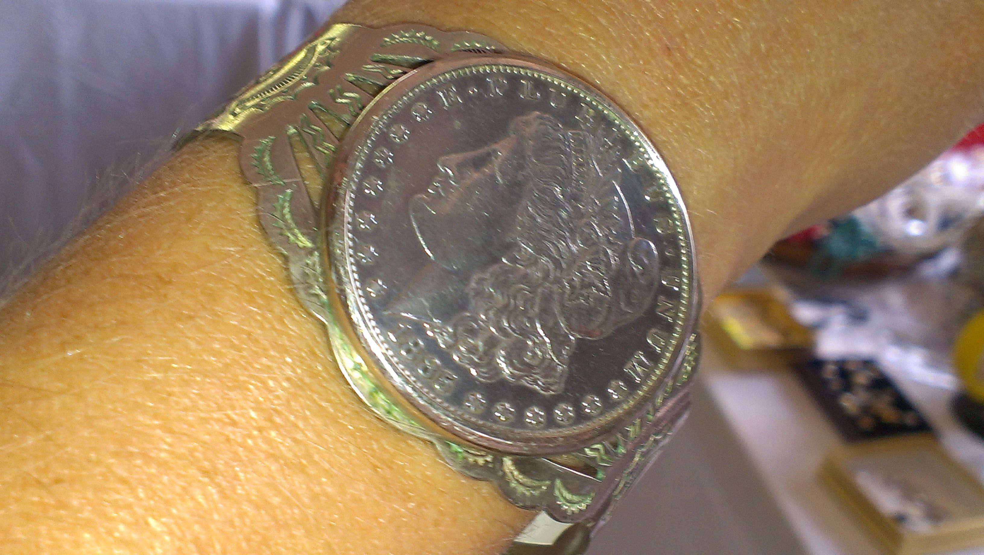 Sweet silver dollar cuff bracelet