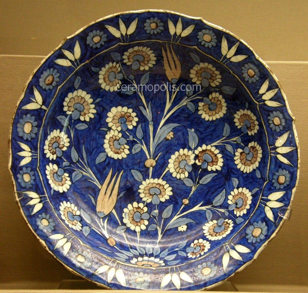 Iznik Plate Flowers Ceramopolis Atina Yunanistan Tas Seramik Tuval Resimleri