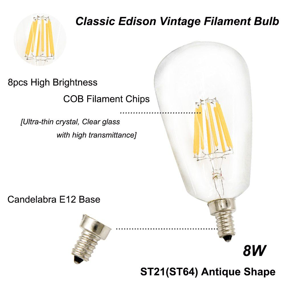 8w St21st64 Edison Led Filament Bulb Lustaled E12 Candelabra Base 120v Clear Squirrel Cage Style Decorative Bulb 80w Incandescent In 2020 Filament Bulb Bulb Light Bulb