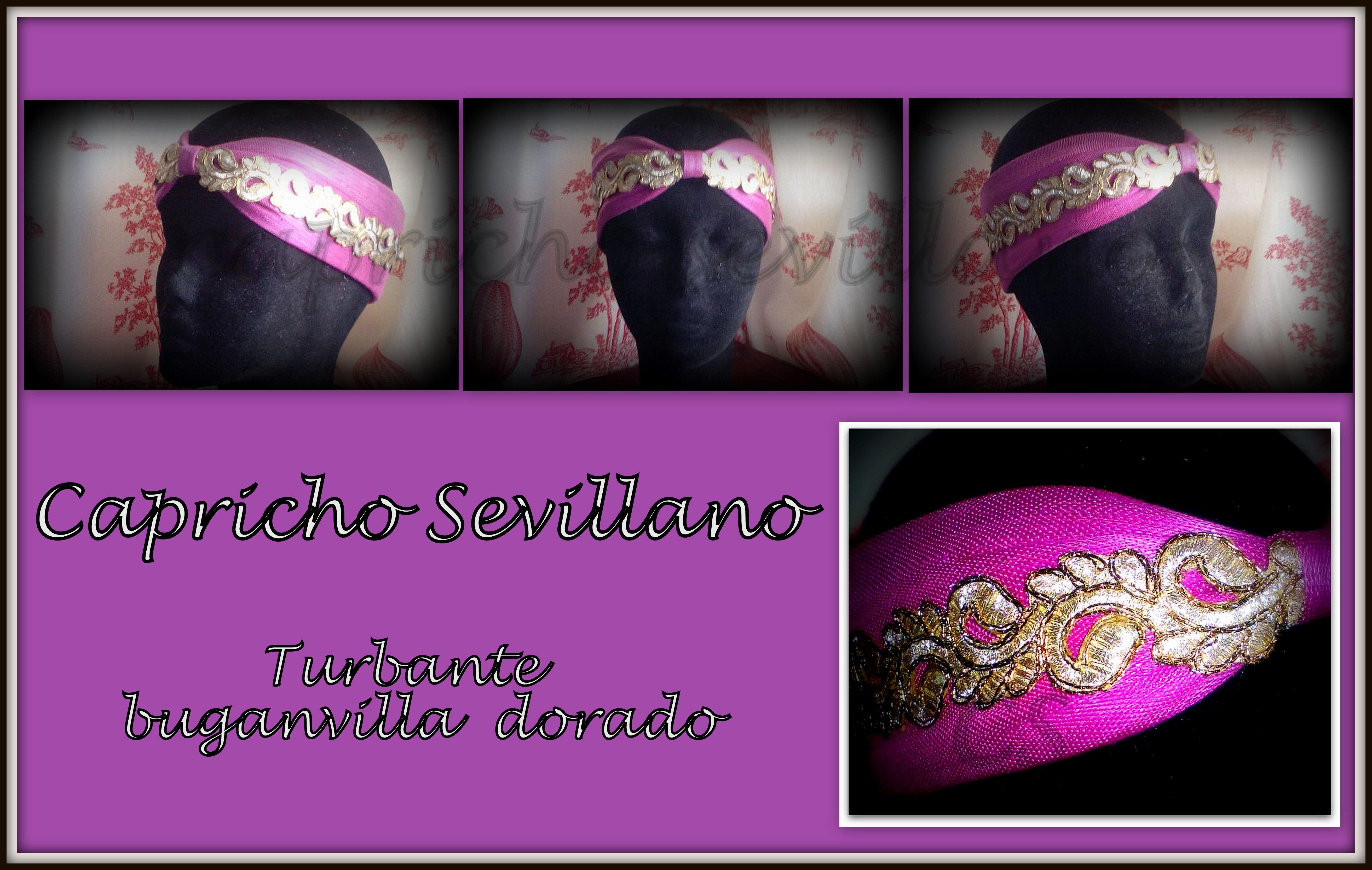 675c159317356 turbante abierto de sinamay seda en color buganvilla y oro  capricho  sevillano