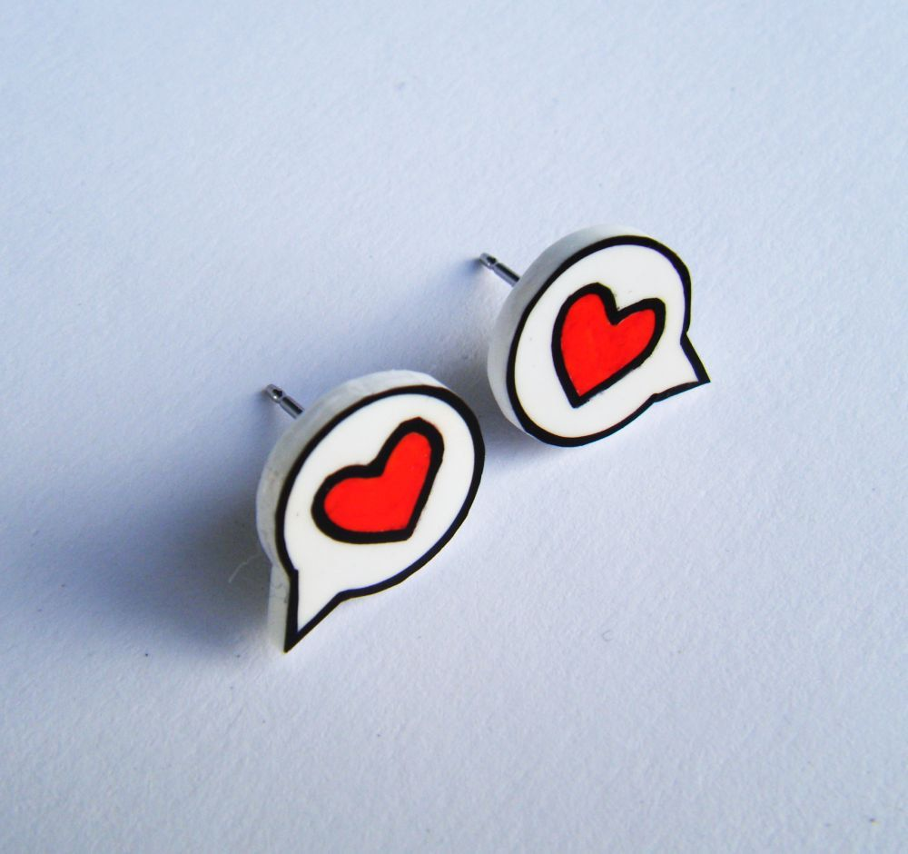 "Earrings - Shrink Plastic  - Heart Speech Bubble ""I said Love"" - Red. $6.00, via Etsy."