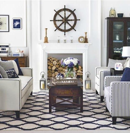 hamptons style nautical living room idea featured on completely