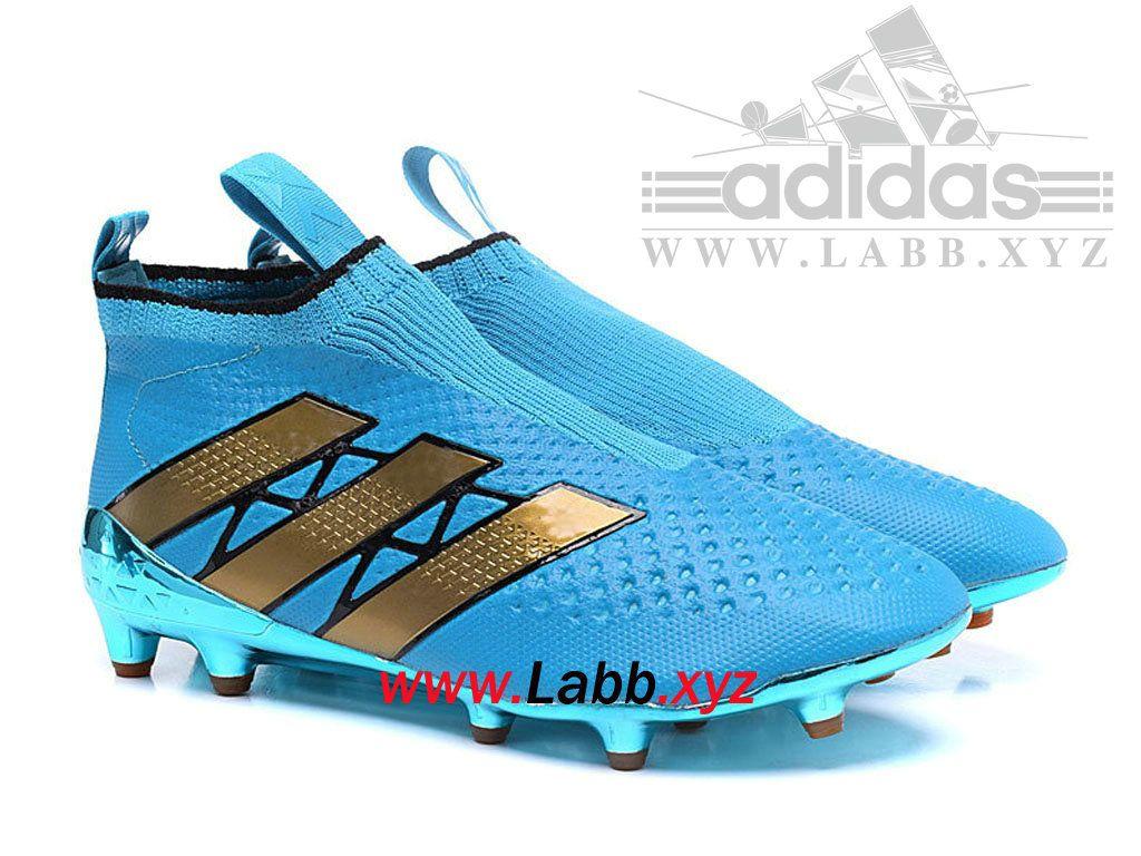 another chance ad386 5fc92 Adidas Football Chaussure ACE 16+ Purcontrol terrain souple Bleu espace  AQ2623