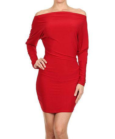 Look what I found on #zulily! Red Dolman Boatneck Dress by One Fashion #zulilyfinds