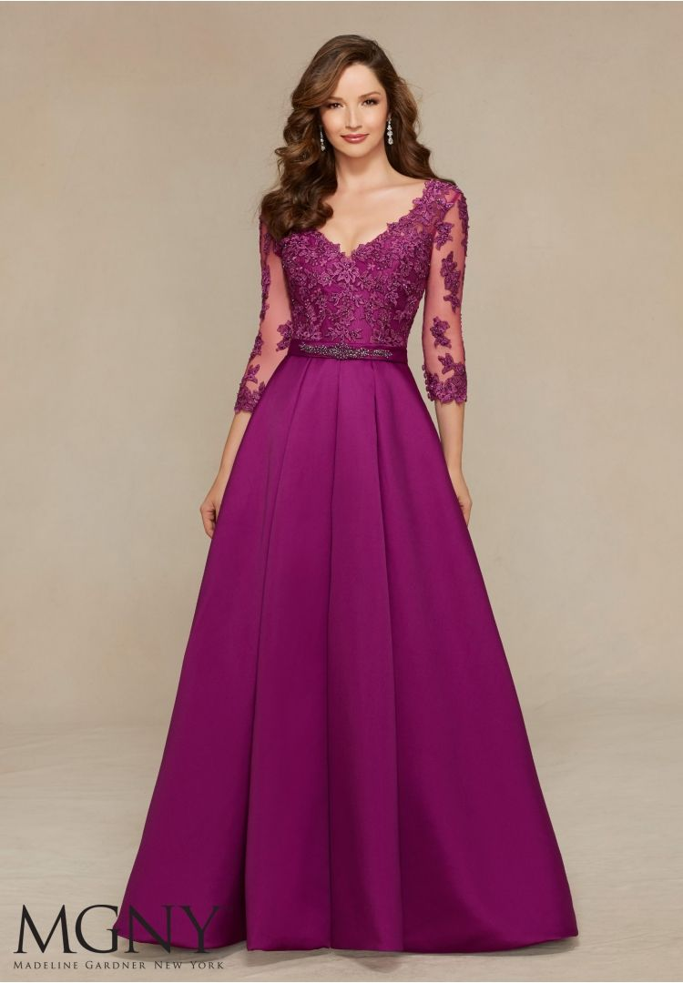 Beaded lace appliqués on larissa satin evening dress fashion