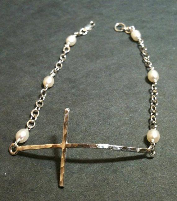 Sideway cross bracelet Cross Bracelet sterling by EllynBlueJewelry, $24.99