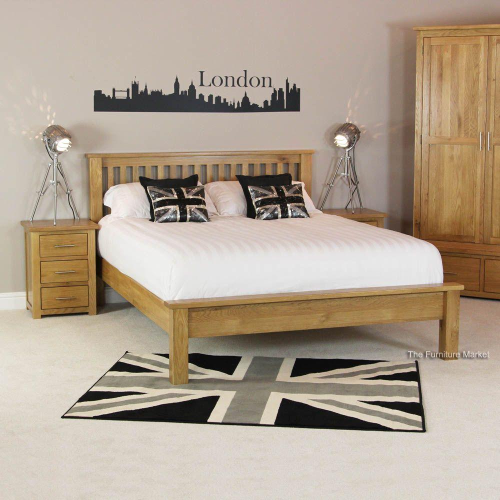 London Solid Oak 6ft Super King Size Bed Low Foot Board
