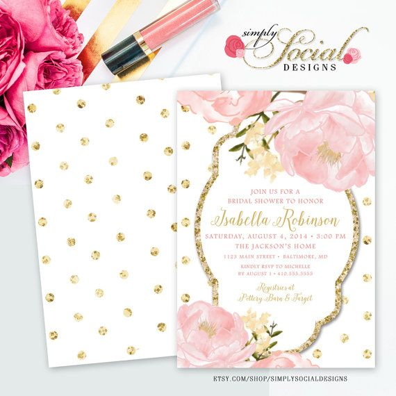Romantic garden peonie flowers blush pink and gold polka dots bridal romantic garden peonie flowers blush pink and gold polka dots bridal shower invitation double sided printable filmwisefo Choice Image