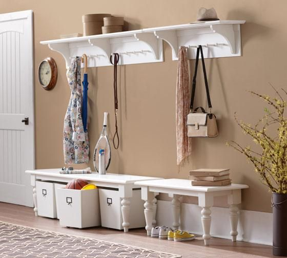 Martha Living Solutions Entryway Shelf With Hooks Storage Display