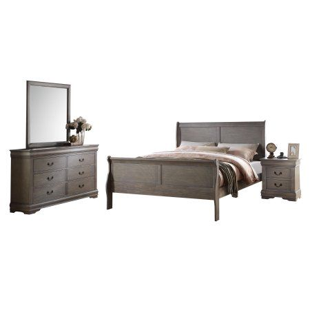 Best Acme Furniture Louis Philippe 4 Piece Bedroom Set Antique 640 x 480