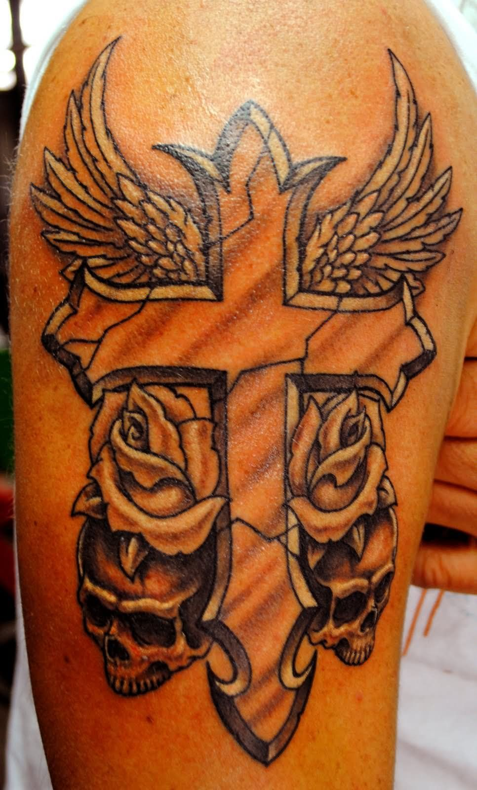 Mens cross tattoo with roses - Skull Rose And Wings Cross Tattoo On Half Sleeve