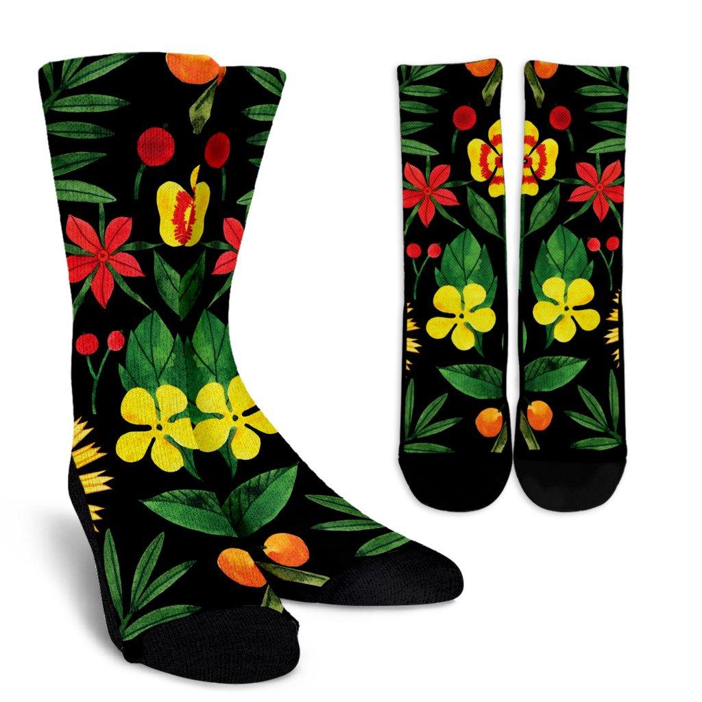 Watercolor Black Floral Socks Crew Socks Small Medium In 2020