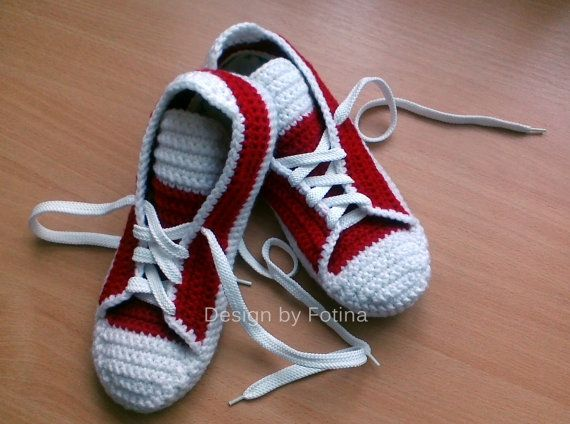 1ac23e8a2a03 Slippers Crochet Adult  Sneakers Converse  House Knit Shoes  Red Sneakers  for Fitness