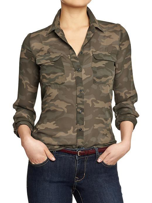 a1aa19440b14a Womens Camo Chiffon Blouses | Stuff to Buy in 2019 | Camo shirts ...