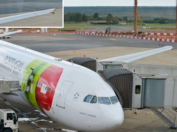 Aeronave da TAP bate em torre no aeroporto Juscelino Kubitscheck, em Brasília | Avião passou por pista muito pequena, informou Inframerica. Não há feridos; 259 passageiros foram acomodados em hotel na cidade. http://mmanchete.blogspot.com.br/2013/04/aeronave-da-tap-bate-em-torre-no.html#.UWneyLU3uHg