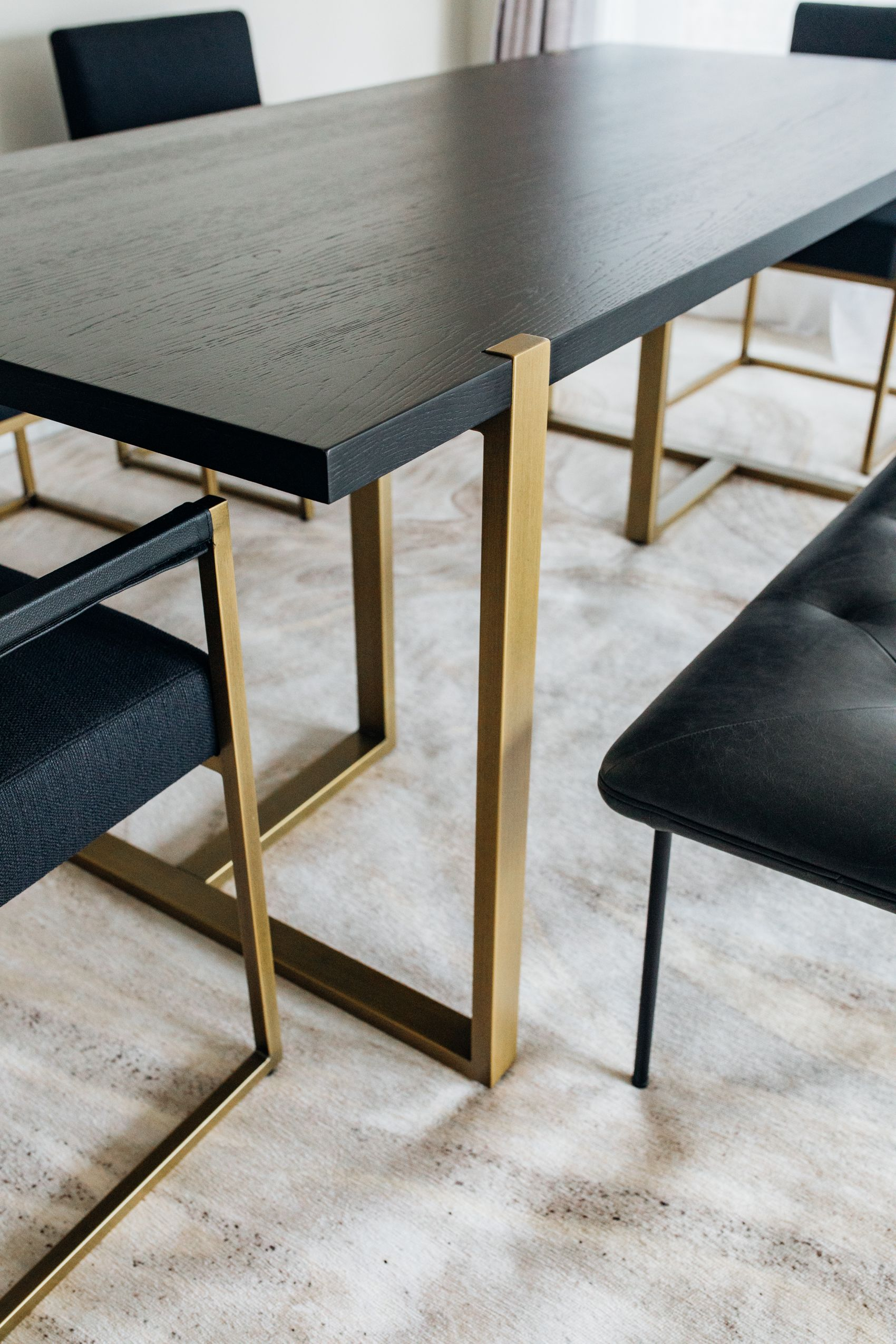 Article Oscuro Dining Table With Gold Legs For Eight With Matching