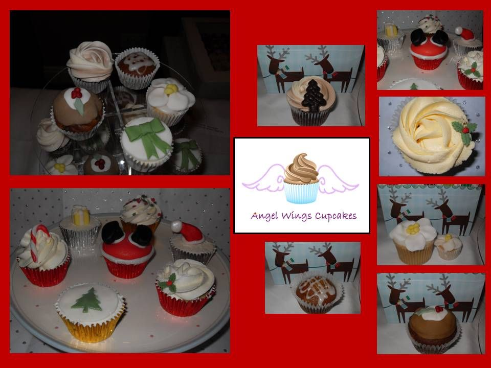 Christmas Christmas cupcakes   Box of 6 Cupcakes (one flavour) £9  Box of 12 Cupcakes (one flavour) £15  Box of 12 Mini Bites (one flavour) £9  Box of 24 Mini Bites (one flavour) £15  www.angelwingscupcakes.co.uk  https://www.facebook.com/media/set/?set=a.260822580606905.63033.198276256861538&type=1