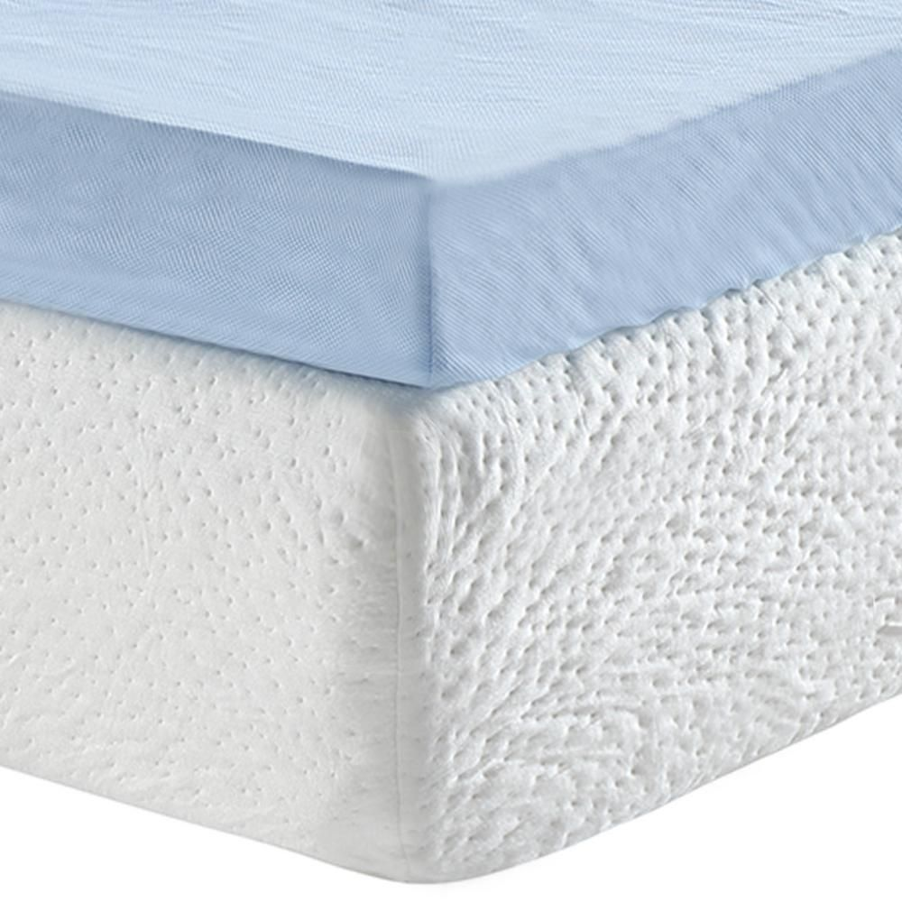 889cc1c43d Sleep Options Classic Cool Cloud 3 in. California King Gel Memory Foam  Mattress Topper with Free Cover, Blue