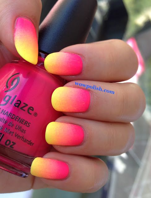 matte #neon hot pink yellow #ombre