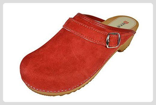 Buxa Unisex Rot Holz und Leder Clogs / Pantoletten, Fersenriemen, Größe 38