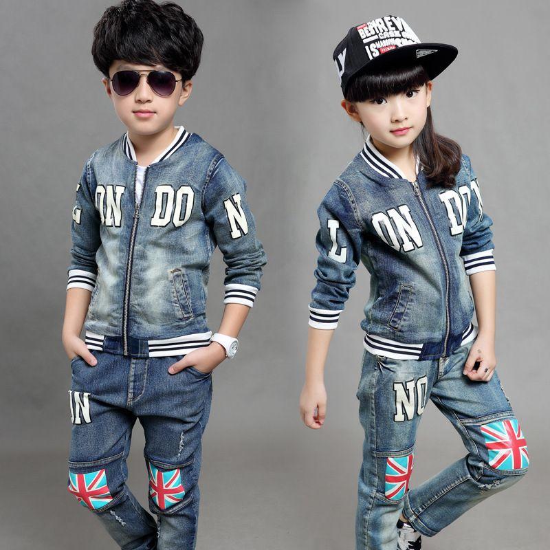 Encontrar Más Conjuntos de Ropa Información acerca de 2015 niños coreanos  ropa 6 14 años los pantalones vaqueros… 44e72833ab825