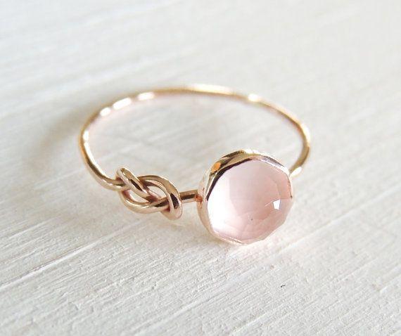 Rose Quartz Ring Rose Gold Ring Infinity Knot Ring Symbol Ring