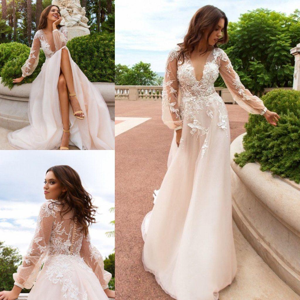 Vintage Boho Wedding Dresses Long Sleeve Deep V Neck Top
